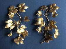 Vintage Metal Gold Gilt LEAVES CANDELABRA Leaves Candle Light Antique Sconces