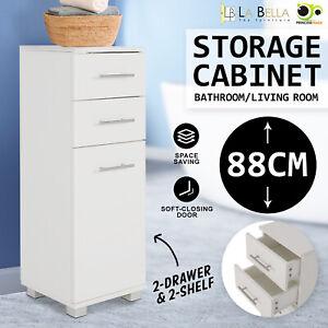 Bathroom Storage Cabinet Organiser Cupboard Drawers Tall Slim Laundry Toilet WH