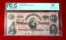 1864 $100 T-65 Confederate Currency PCGS 25 Civil War
