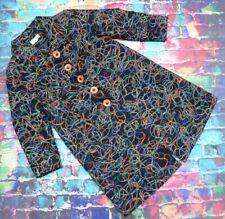 S94 Anya Blue Coat Black Patterned Size Uk 20