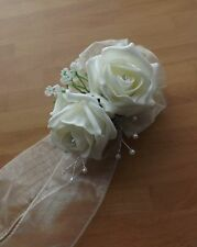 Wedding flowers Ladies wrist corsage ivory rose & Gents button hole ivory rose