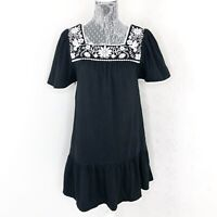 Kate Spade Broome Street Embroidered Square Neck Flounce Black Dress Size XS
