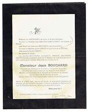 Avis de Décès Jean Bouchard - Maire Saint Jean de Losne - 1933