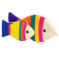 Cat Toy Fish Shape Scratching Post Board Sisal Plate Grinding Claw Pet Scratcher