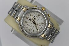 Tag Heuer 6000 CH1150 Mens WHITE Chronograph Professional SS 18K Gold Watch Mint