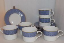 Block Spal BLUE SKIES Portugal 6 FLAT CUPS & SAUCERS Gold Trim DISCONTINUED EUC