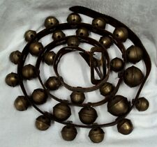 "Antique 97.5"" LEATHER STRAP ~ 30 Brass Graduated Numbered HORSE SLEIGH BELLS"