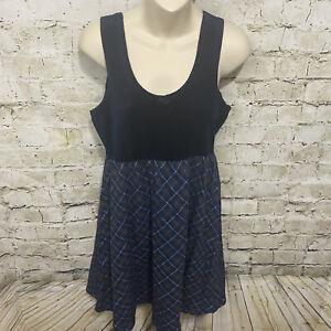 Victorias Secret Country Womens Medium Blue Velvet Plaid Babydoll Night Gown