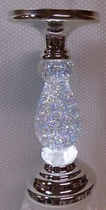 2020 BATH AND BODY WORKS SILVER SWIRLING GLITTER PEDESTAL 3-WICK CANDLE BNWT