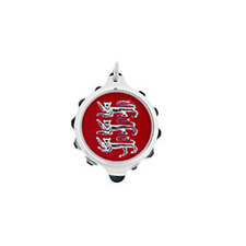 """SOS Talisman-Chrome Plated Pendant with Three Lions-Red Motif and 22"""" Chain"""