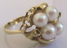 Vintage Abstract 18ct Yellow Gold Multi Cultured Pearl Cluster Ring Size N