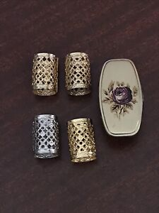 Vintage Lipstick Holder Lot One W/ Mirror & 3 Gold Tone + 1 Silver Tone