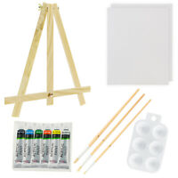 US Art Supply 13 Piece Acrylic Painting Set with Mini Table Easel, 6 Colors