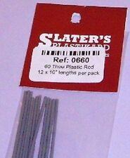 Slaters 0660 Plastic Rod 60 Thou. (12 Lengths) NEW.