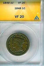 1848 Braided Hair Large Cent : ANACS VF20