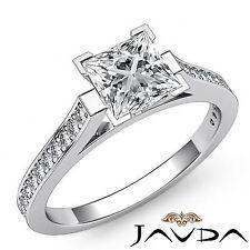 Princesa Diamante Clásico Anillo de Compromiso GIA H VS2 Pureza 14k Oro Blanco
