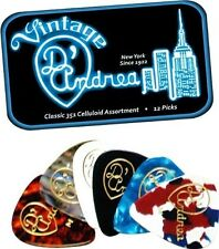 D'ANDREA 351 VINTAGE CLASSIC CELLULOID Guitar Picks .46MM THIN 12 pick Tin Box