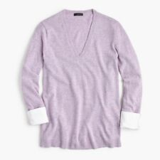 NWT JCrew V-Neck Sweater with Shirt Cuffs Heathered Orchid Lavender XXS H0106