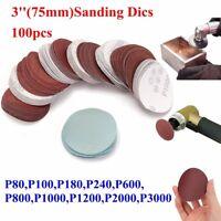 100pcs 3inch 75mm Mixed Sander Disc Sanding Polishing Pad Sandpaper 80-3000 Grit
