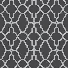 BLACK / SILVER CASABLANCA TRELLIS FRETWORK WALLPAPER - RASCH 309348 NEW