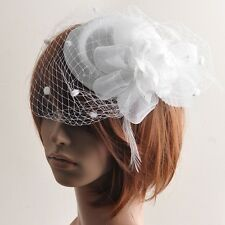 HOT party lady fascinator feather flower mini top hat veil hair clips millinery