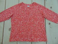 Denim & Co Essentials Perfect Jersey V-Neck Top Women's Size 2x Red White Dots