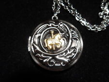 ANTIQUE SILVER CAROUSEL HORSE LOCKET ROUND  (SMALL)