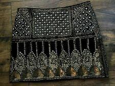 Club Monaco Beaded Pearls Seqin Black Mini Skirt size: 4
