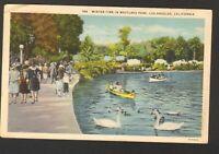 1933 Postmarked Postcard Winter Time in Westlake Park Los Angeles California CA