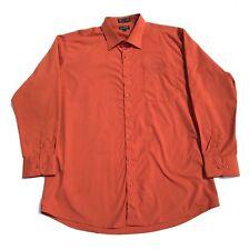 Milani Mens Shirt Button Down Size 18.5 36/37  Long Sleeve French Rust Orange