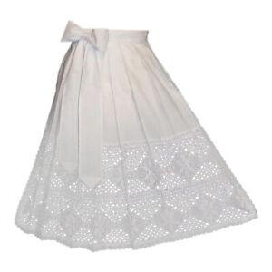 Apron White Lace Long Hostess Waitress Women German Dirndl Dress XS S M L XL 2XL