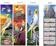 3 Set-COCKATIEL 2017 CALENDAR BOOKMARK Parrot Card Art BIRD Pied Lutino Ornament