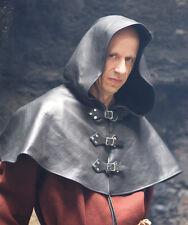 Cosplay-Medieval-Larp-Re enactment-Archer-Merchant 3 Buckle Black Leather Hood