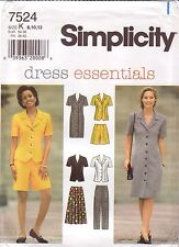 Simplicity 7524 Misses & Misses Petite Dress Top Skirt Pants Shorts, Sizes 8-12