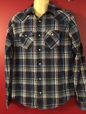 Aeropostale Men's Dark Blue Plaid L/S Snap-front Shirt - Size Small - NWT
