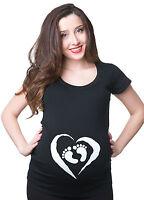 Baby Feet Maternity T-shirt Pregnancy Heart Tee Shirt Gift Shower Tee