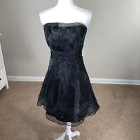 Black Strapless Organza Fit & Flare Cocktail Dress SZ 10 Overlay David's Bridal