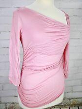 Diane Von Furstenberg DVF Wrap Top Pink Knit Stretch Sz Small Asymmetrical Neck
