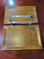 1950's Aline Haskelite Small Folding Carrier Tray Wood Tone Aluminum Handle MCM