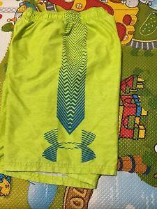 Youth Boys Under Armor Swim Shorts, Size Medium , Neon Green, EUC