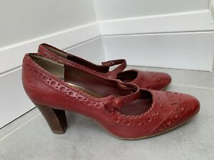 M&S Insolia Red Leather Mary Jane Strap Court Heel Shoes Uk 3 - EUR 35.5