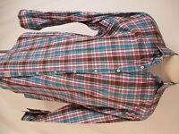 Peter Millar Mens Blue Pink Plaid Long Sleeve Cotton Shirt XL