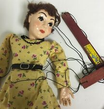 Vintage  Hazelle Marionette Puppet String 1950 Brunette Girl In Dress Mcm Prop