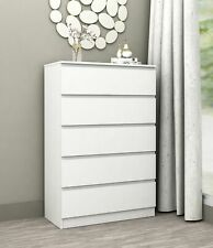 Coco 5 Drawer Tallboy White Chest Drawers Cabinet Bedroom Storage FREE POSTAGE