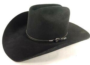 Bailey Hat Qualifier Black XX Wool Cowboy Western Size 7 1/4 (58) Buckle Banded