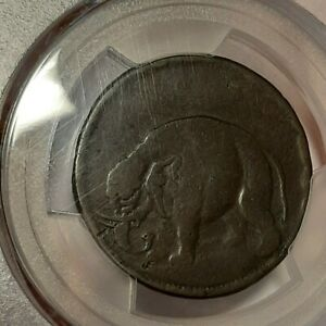 COLONIAL 1672-1694 ELEPHANT TOKEN 1/2 P THICK PCGS VF25 Nicer than CAC