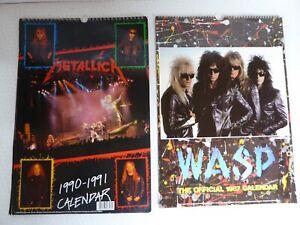 Heavy Metal Hair Metal Rock Calendars 1980's 1990s - Wasp & Metallica