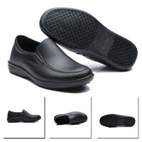 Mens Men Work Shoes Restaurant Kitchen Water Oil Resistant Non-Slip Black Shoes