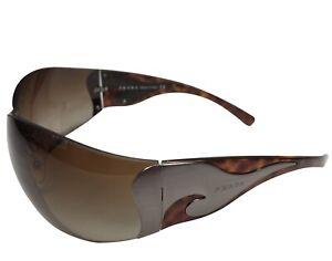 Women's PRADA  Brown Sunglasses Shield Tortoiseshell SPR 58F 2BU-6S1 115 Rimless