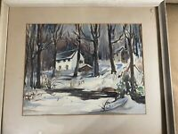 "John R Davis ""Home In Winter Landscape"" Watercolor Painting - Signed/Framed"